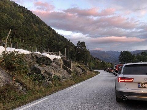 KØ: Det danna seg kø i samband med bilberging etter ulukka i Verken. (Foto: Renate Sæle)