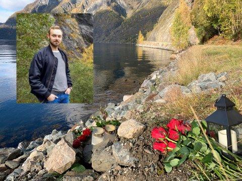 HÅPAR FRAMLEIS: På vegen til Skjerdal, der Christoffer Elgåen (29) sist var sett, er det lagt ned lys og blomar fleire stader. Politiet trur det har skjedd ei ulukke som gjorde at han fall i fjorden. Bygdefolket gjer det dei kan for å få henta han heim.