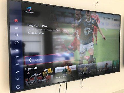 LOKAL SPORT PÅ TV: Slik ser det ut med Direktesport på TV. Dette kan alle abonnentar av Sogn Avis no lasta ned på nyare smart-TVar og Apple-TV.