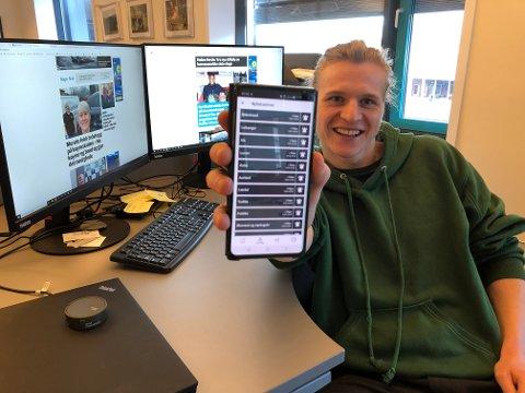 NYHEITSAPP: Journalist Anders Huke og alle andre med nyheitsappen til Sogn Avis kan velja frå ei lang liste med emne å abonnera på.
