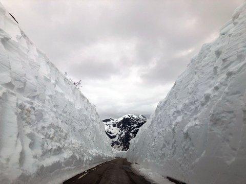 MYKJE SNØ: Høge brøytekantar på Gaularfjellet.