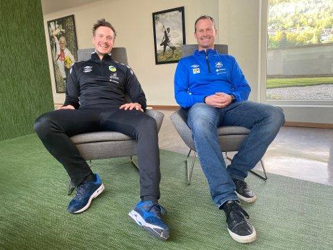 KLART: Vik-trenar Jarle Christensen var hakket meir nøgd med trekninga av avdelingane i 4. divisjon enn kollegaen i Kaupanger, Ørjan Hjellhaug.
