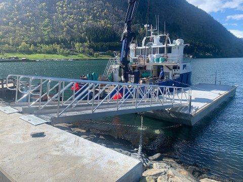 TRYGT I VÊR OG VIND: Det er levert sikringsstolpar på kvar side av landgangane for å hindra at dei fell i fjorden ved sterk vind og bølgjer. Installasjonen kan også takast på land etter sesongen er over.