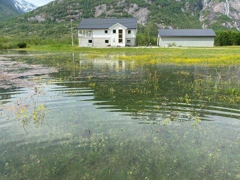 VASSTAND: Slik var vasstanden på Veitastrond ved huset til Bjørn K. Skovly på dagtid laurdag.