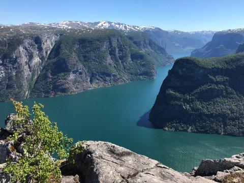 PRAKTFULLT: Dette synet, med Aurlandsfjorden, Beitelen og inngangen til Nærøyfjorden, møter deg på Skomakarnipa.