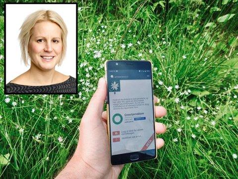 APP: Den nye appen frå Artsdatabanken kjenner automatisk att kva dyre- eller planteart du har kome over. F.v. Seksjonsleiar i Artsdatabanken Ingrid Ertshus Mathisen.