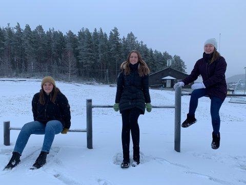 FORSVARET: Ingeborg Romstad Osland (19), Mariann Kvåle Stigen (19) og Helene Johnsborg Lyngaas (19) er spente på året i førstegongstenesta.