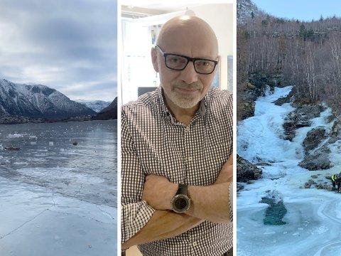 FORBOD: På Årdalsvatnet (t.v.) er det forbode å opphalda seg. På isen ved Øvstetunshølen er det tillate. Kommunedirektør Stig Stark-Johansen har inga god forklaring på kvifor, men meiner Årdalsvatnet er meir tilgjengeleg for ålmenta enn Øvstetunshølen.