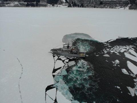 FJORDIS: Kystvaktskipet «Tor» har møtt på fjordisen under toktet i Sogn.