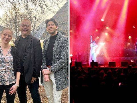 HAR HÅP: Styre ti Målrock, her representert ved Ingrid Nordbye-Antonse, festivalsjef Geir Kjetil Øvstetun og Erlend Hunshammer Moen har framleis håp om å få til festival i 2021.