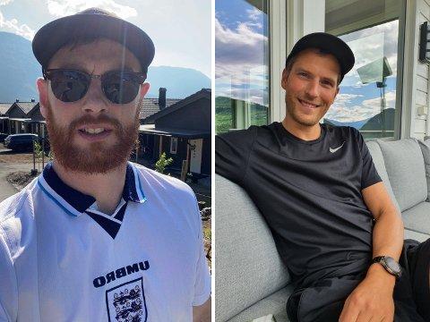 KJENSLELADD: Matthew Shaw (33) og Allan Jørgensen (33) beinkar seg framfor kvar sin skjerm i kveld for å heia fram kvart sitt fedreland til finaleplass.