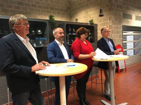 Leiv Arild Lie (Sp), Tom Henning Slethei (Frp), Siv-Len Strandskog (Ap) og Ove Evertsen (FNB) utgjør det nye politiske flertallet i Sola.