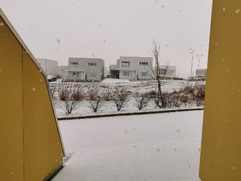 Det er å ta litt hardt i at snøen lavet ned, men noe drysset det ned tirsdag formiddag.