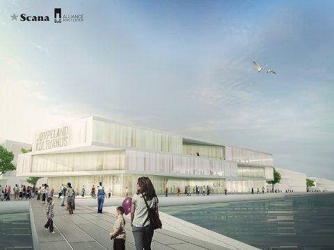Scana vil tilby et samarbeid, der nytt kulturhus på Jørpeland kan lokaliseres i sjøkanten, (Illustrasjon: Alliance Arkitekter)