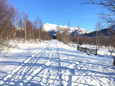 Også på Leite ved Jørpeland er det snø. På vegen til Regnarvatnet var det søndag mulig å gå på ski.
