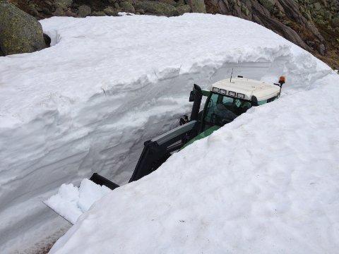 Roar Fossan i Lyse brøyter snø på Flørlifjellet. Den store traktoren til Lyse blir liten i denne snøfonna.