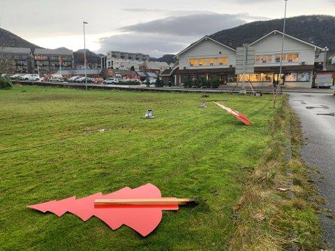 ØDELAGT: Juletrærne langs marka er ødelagt.