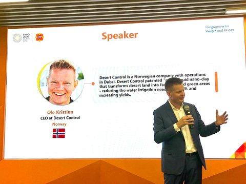 EXPO: Ole Kristian Sivertsen presenterer Desert Control på verdsutstillinga i Dubai sist veke.