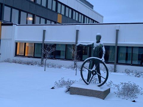 Skulpturen som står i hagen mellom flere hus ved Statens vegvesen på Heggesenget, er umulig å se for forbipasserende. Den har stått der i 50 år.
