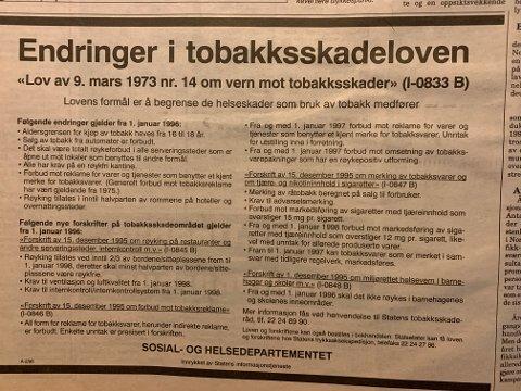 Det ble endringer på bruk, kjøp og omsetning av tobakk for 25 år siden.