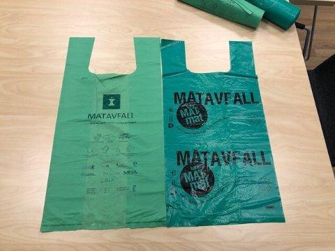 De nye bioplastposene (til venstre) erstatter dagens matavfallsposer.
