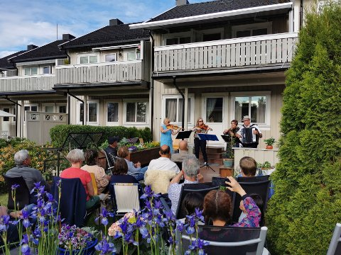 Rundt 15 personer tok turen til den litt spontane hagekonserten på Guldbergaunet onsdag kveld.
