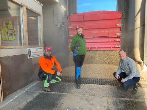 Mandag morgen leverte Marius Opheim og Torunn Flaten hver sin henger med korn ved Steinkjer Kornsilo. - Selv om de fleste er ferdig med treskinga, leveres det stadig korn. Noen tørker det hjemme før det leveres hos oss, sier Odd Garberg, som er daglig leder på Steinkjer Kornsilo.