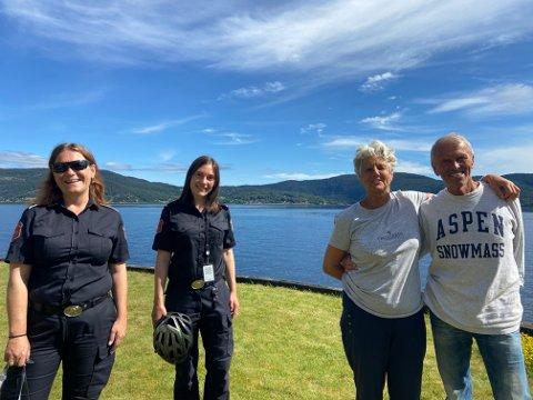 Anders Skoe og kona fikk besøk av Kristin Dammen Heyerdahl (t.v) og Kristin Grydeland (nr 2 fra venstre), fredag. Det var de bare glade for.