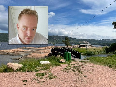 Eivind Andersen, nabo til badeplassen Skjæra, er oppgitt fordi kommunen ikke har fått ut flytebrygga ennå.