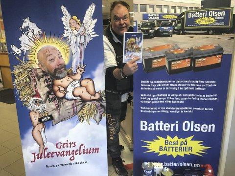 GLEDER SEG: Morten Olsen ved batteri Olsen på Kjørbekk får fint besøk i dag.