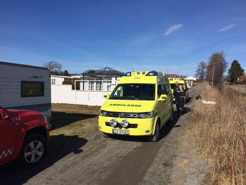 OMRESTRAND: Politi, ambulanse og brannvesen rykket ut til stedet.
