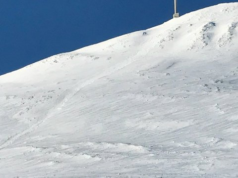 SKRED: Skredet som gikk i dag tidlig var flere hundre meter langt.