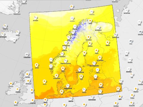 Høye temperaturer flere steder i Norge onsdag, viser prognosene fra Meteorologisk institutt. Foto: Faksimile (Meteorologisk institutt)