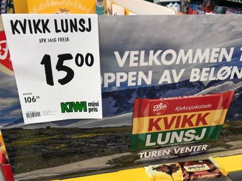 KUTTER: Prisen på Kvikk lunsj har blitt halvert siden forrige uke. Foto: Halvor Ripegutu