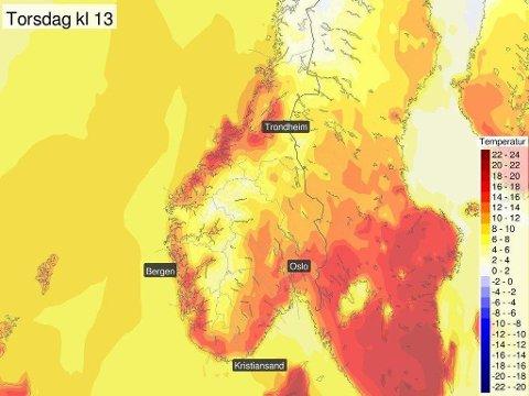 VENTER VARME DAGER: Vil du ha mer vår ig varme, er torsdagen dagen med best utsikter denne uka, i alle fall i Sør-Norge. (Meteorologisk institutt)