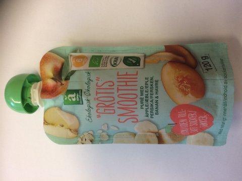 Coop tilbakekaller Änglamark økologisk 'Grøtis» Smoothie med eple, fersken, banan og havre etter at det er funnet mugg på tuten på enkelte klemmeposer. Foto: Coop / NTB scanpix