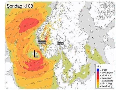 Fra sent lørdag kveld er det ventet et lavtrykk med kraftig vind over Sør-Norge. Søndag skal det ifølge meteorologene blåse godt både i vest og øst. Foto: Faksimile (Meteorologisk institutt)