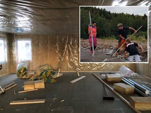 IKKE FERDIG: Boligdrømmen tok en uventet vending for Malene og Alexander da Sør Bolig gikk konkurs. Foto: privat