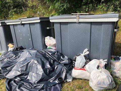 MYE SØPPEL: Det er kastet mye på utsiden av konteinerne ved Andedammen