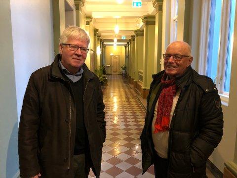 IKKE NETTVERK: Knut Wille og Rolf Erling Andersen har vært og er sentrale i utbyggingen av Skagerak Arena og leiekontrakter i stadionanlegget. De avviser at Odd har fordel av vennskap og bekjentskap blant personer med makt i Skien. FOTO: VIGDIS HELLA