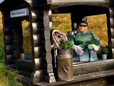 "SITTER VAKT: Livoll-mannen passer på hytta i Rauland. ""Minste motstands vei"" står det på skiltet på melkerampa."