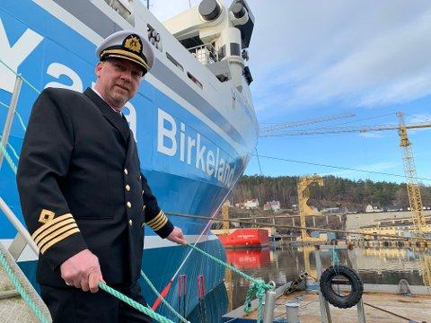 KAPTEIN: Ragnar Stangring er kaptein på Yara Birkeland. Skipet som etterhvert skal kjøre helt av seg selv, uten mannskap ombord.