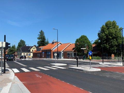 SISTE INNSPURT: Veiarbeidene er snart ferdig i PP-krysset på Vestsida i Porsgrunn, til glede for mange bilister.