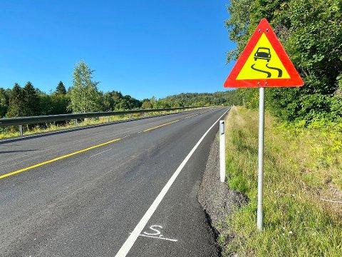 FARESKILT: Etter asfalteringen i juni ble en strekning på fylkesvei 40 så glatt av olje at det var fare for ulykker. Foto:Inger Lene Omholt Steen