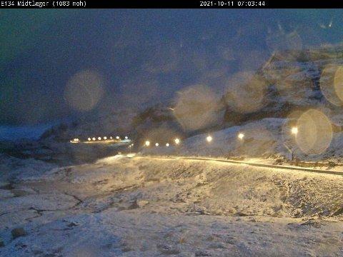 SNØ: Sesongens første snøfall kom i natt.