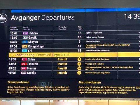 INNSTILT: Dette synet møter de reisende på Oslo S torsdag ettermiddag.