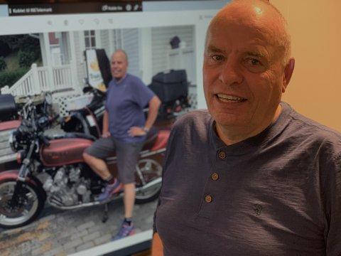 Erlend Jensen (64) har ingen planer om å sette seg på en motorsykkel, hverken nå eller i framtida. Han advarer nå gamlinger som seg selv, om å sette seg på en motorsykkel.