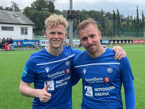 AVGJORDE: Jørgen Voilås (t.v) og Melvin Troy Frithzell avgjorde kampen med hver sin scoring.
