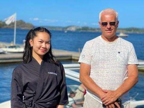 EKSKLUSIVT: Martin Eikeland og Kristine Bach Tam-Doan ved Tinas Wok & Sushi kan lokke med båtturer noe utenom det vanlige.