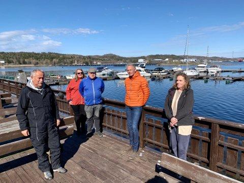 BOLIG OG INDUSTRI: Dag Rune Bakk, Anne Mette Bamle, Børre Bamle, Eirik Ellingsen og Britt Lunden på stranda på Cocheplassen. Skjerkøya i bakgrunnen.